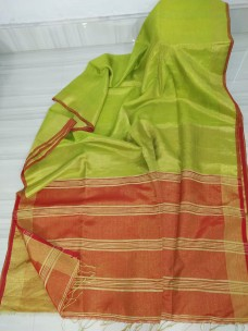 Green and red tissue linen sarees