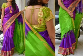 Purple uppada sarees with pochampally border