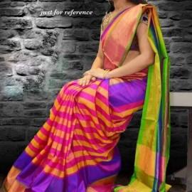 Pink and green uppada sarees