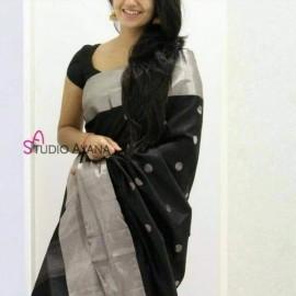 Black uppada sarees with butti