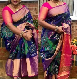 Navy blue and dark pink uppada silk printed sarees