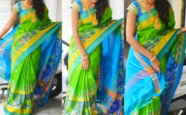 Green and sky blue uppada sarees with big pochampally border