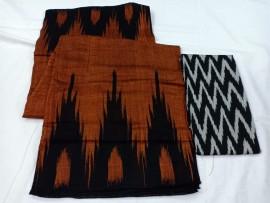Brown pure ikkat cotton sarees