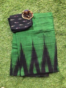 Green and black  pure ikkat cotton sarees