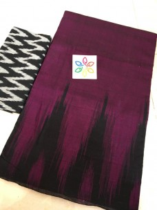 Magenta pure ikkat cotton sarees