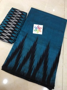 Blue pure ikkat cotton sarees