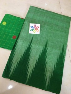 Green pure ikkat cotton sarees