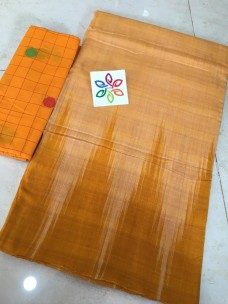Light orange pure ikkat cotton sarees
