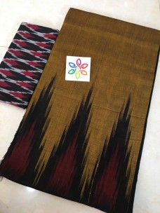 Dark mustard pure ikkat cotton sarees