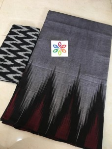 Silver grey pure ikkat cotton sarees