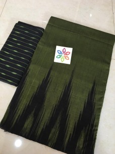 Dark green pure ikkat cotton sarees