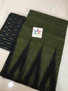 Dark green pure ikkat cotton sarees
