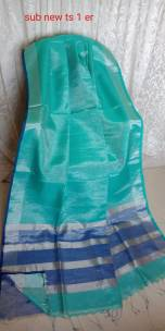 Turquoise blue and blue 100 count tissue linen sarees