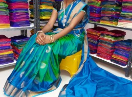 Green and light blue uppada Sarees with butti