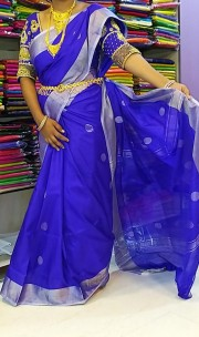 Dark blue uppada Sarees with butti