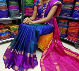 Navy blue uppada plain sarees