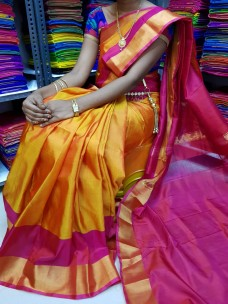 Orange and pink uppada special border sarees