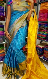 Light blue and yellow uppada checks sarees