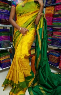 Yellow and  dark green uppada checks sarees