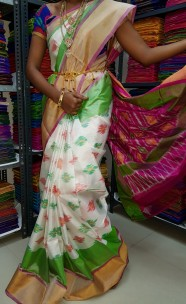 White and pink uppada pochampally Sarees