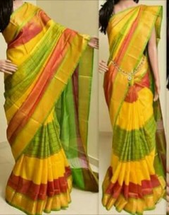 Yellow with pink and green uppada special border sarees