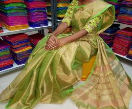 Green uppada tissue cotton sarees