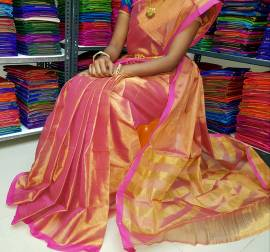 Pink uppada tissue cotton sarees