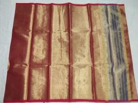 Dark red uppada tissue cotton sarees