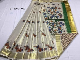 Kerala tissue mural sarees with butterfly print