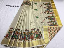 Kerala tissue mural print sarees