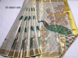 Kerala tissue mural sarees with peacock print