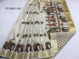 Kerala tissue mural sarees with elephant print