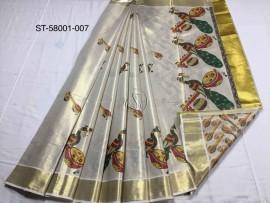 Kerala tissue mural sarees with peacock and veena print