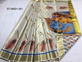 Kerala tissue mural sarees with radha krishna print