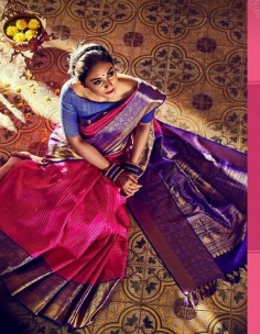 Dark pink and blue kuppadam sarees with kanchi border