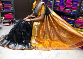 Black and mustard kuppadam sarees