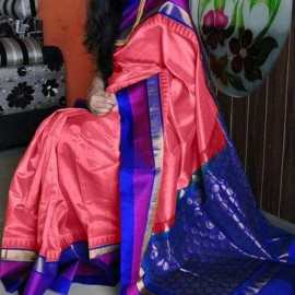 Peach pink and dark blue kuppadam sarees
