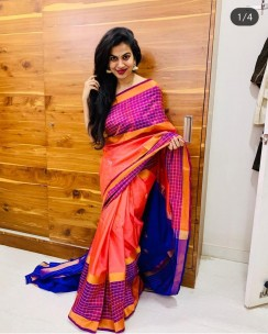 Peach pink with Royal Blue uppada sarees with butti