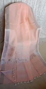 Light peach linen sarees with zari border
