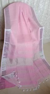Light baby pink linen sarees with zari border
