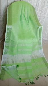 Light parrot green linen sarees with zari border