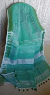 Dark green linen sarees with zari border
