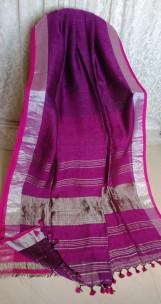 Dark violet linen sarees with zari border