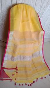 Yellow linen sarees with zari border