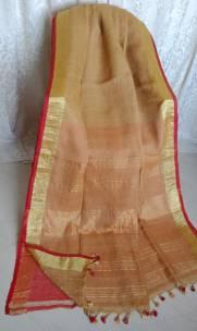 Dark beige linen sarees with zari border