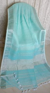 Light sky blue linen sarees with zari border