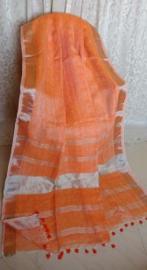 Orange linen sarees with zari border