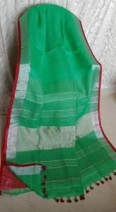 Green linen sarees with zari border