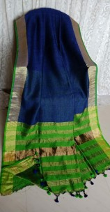 Navy blue and green linen sarees with zari border