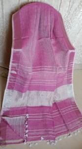 Light magenta linen sarees with zari border